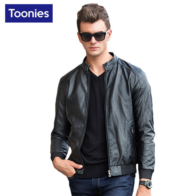 Faux Leather Coat Jackets Men 2017 Stand Collar Zipper Solid Color Bomber Man Jacket Brand Clothing Slim Top Men's Windbreakers