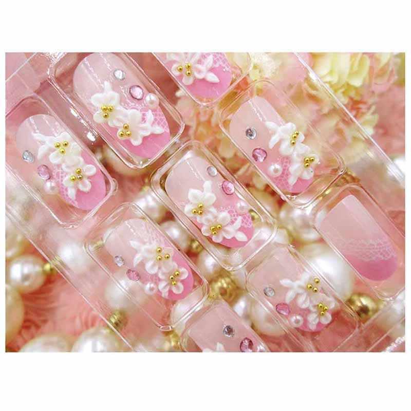 24 Pcs/Set Wedding Bride Full Nails Tips With Glue Flowers Shining 3D Diamond PEARL Rhinestone Fake Nail Art Tool