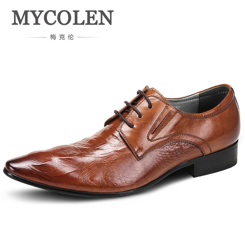 MYCOLEN Spring/Autumn Crocodile Grain Flats Mens Loafers Lace-Up Wedding Genuine Leather Dress Mens Casual Shoes Derby Homme mycolen mens casual genuine leather flats loafers for men comfortable business wine red black crocodile print man leather shoes