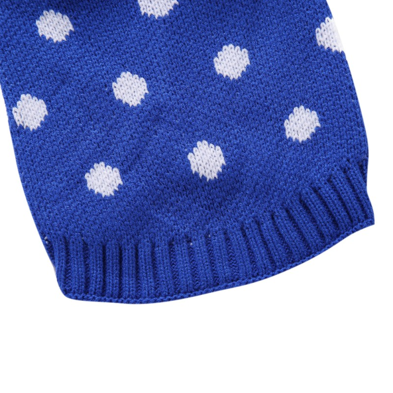 Christmas Style Stinky G French Pink Polka Dot Dog Sweater with Rolled Neckline Pet sweater Autumn& Winter dog clothes
