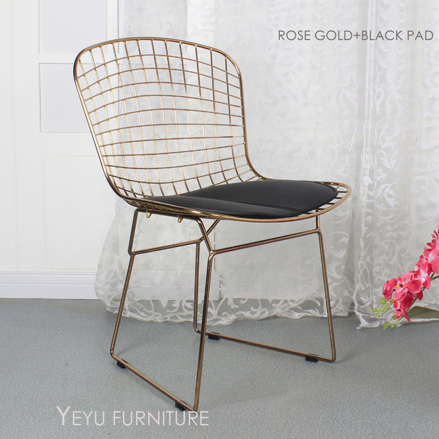 Rose Gold Or Gold Color Bertoia Wire Chair Modern Classic Wire Bertoia Chair  Harry Bertoia Steel