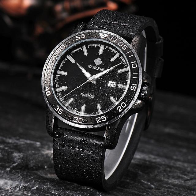 WWOOR Men Leather Sports Watch Quartz Waterproof Military Style