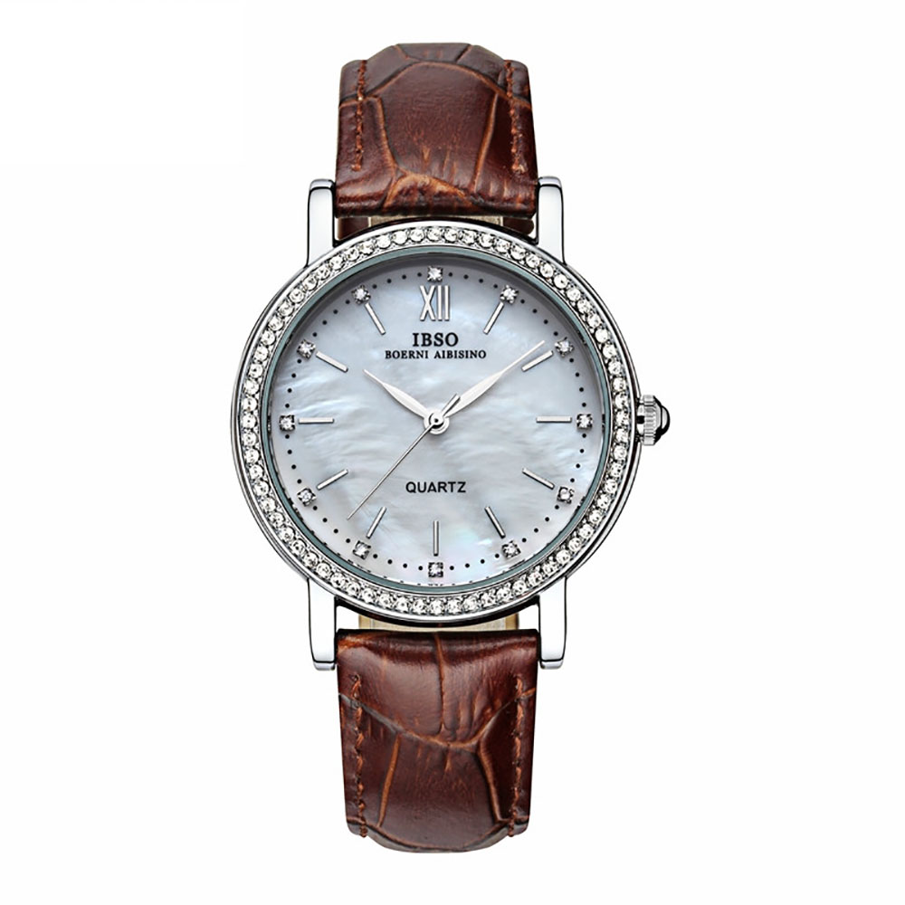 2018 IBSO Fashion Womens Watches Brown Leather Strap Mother of Pear Dial Diamonds Watches for Lover Party Gifts for Ladies 3992 цена и фото