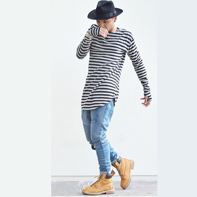 Hip-hop Mens t shirts Fashion 2015 Extended Tee Summer O-neck Long Sleeve  Swag Long Stripe Men Casual T-shirt cedc3000c