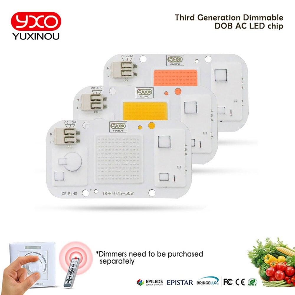 Solderless LED DOB Chip Lamp 50W AC 110V IP65 Smart IC Fit Driverless COB LED For DIY LED Floodlight Cold White Warm White Blue