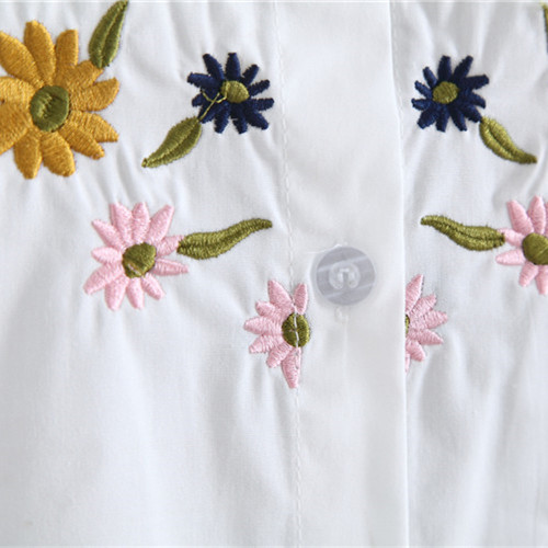 2017 neue Herbst weiße Stickerei Blume Bluse mit Brosche - Damenbekleidung - Foto 6
