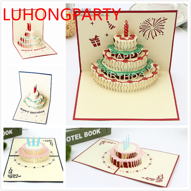 Strange 1Pcs 3D Handcrafted Origami Birthday Cake Candle Design Greeting Funny Birthday Cards Online Alyptdamsfinfo
