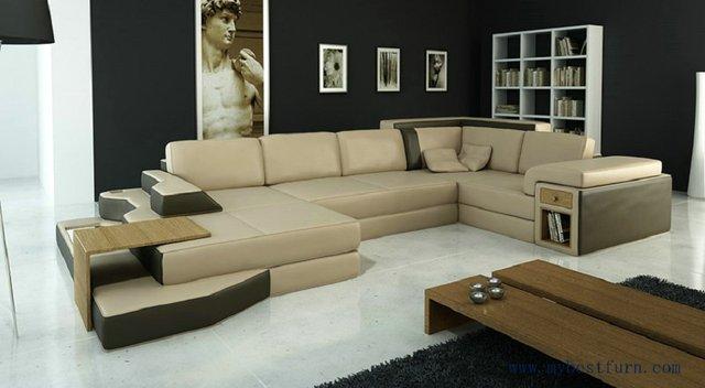 Delightful Free Shipping Modern Sofa, Simply Style, Genuine Leather Add Wood Table Sofa,  Fashion