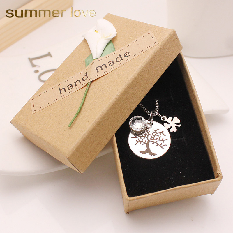 Stainless Steel Tree Of Life Necklace Luck Leaf Clover Crystal Pendant Long Necklace Women Lover Friend Gift New Fashion Jewelry ...