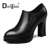 DoraTasia 2017 new arrivals super high thick heel women pumps shoes sexy thick platform pumps slip on party OL shoes woman