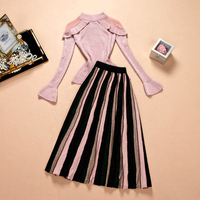 2019 Spring New Arrival Russian Women Casual Outfits Flare Sleeve Sweater Pleated Skirt Knitting Elastic Slim Twin Sets Suits
