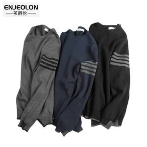 Image 4 - Enjeolon Winter Men Pullover Slim Sweaters  Cotton Sweater For Men Fashion O neck Sweater Male Casual Pullover Sweater MY3222