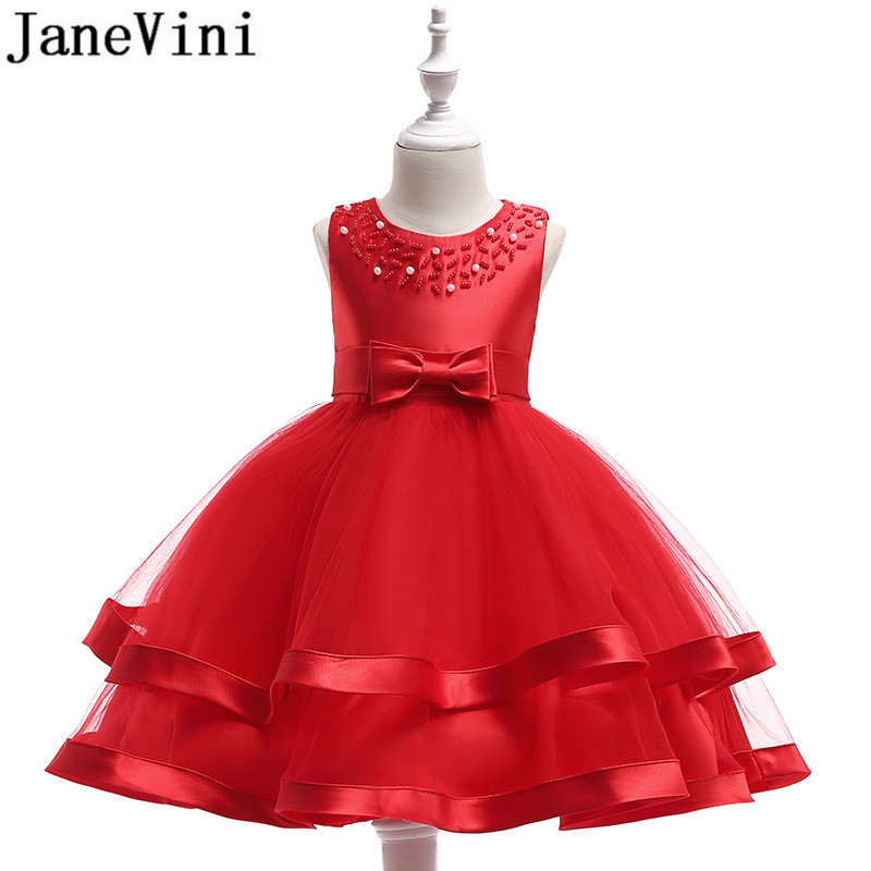 JaneVini Red   Flower     Girl     Dress   Ball Gown Champagne Knee Length Kids Party   Dresses   Vestidos Menina De Flor Para Casamentos 2019