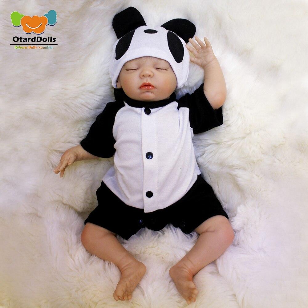 OtardDolls Bebe Reborn Poupées 18 pouces Reborn Baby Doll En Vinyle Souple De Silicium Nouveau-Né Poupée bonecas Panda Vêtements Pour Enfants Cadeaux