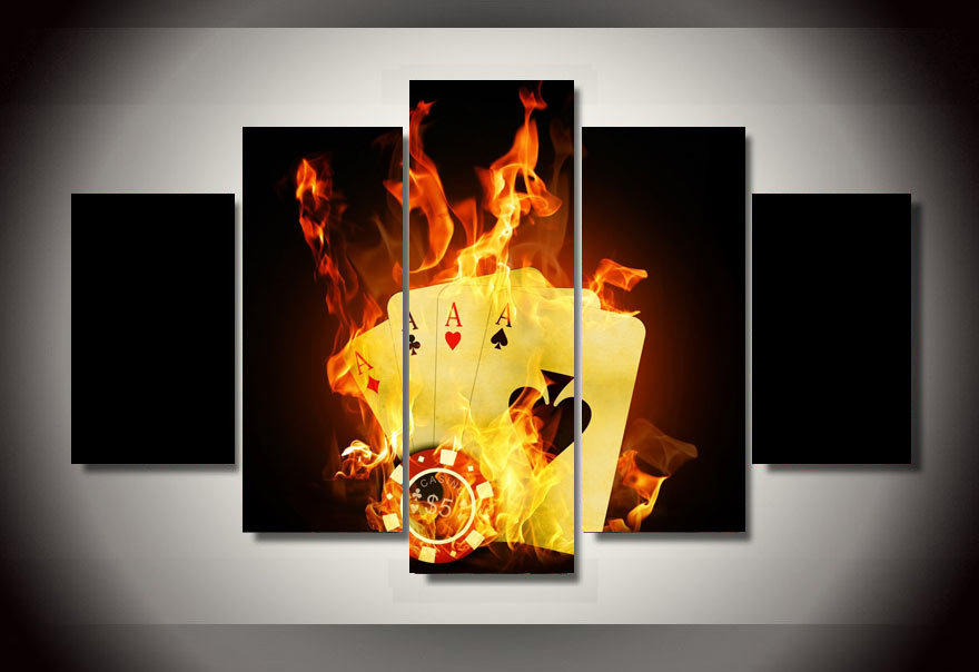 ᗗUNFramed Printed poker Flame Wall Painting on canvas room ...