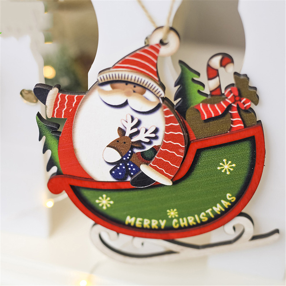 Horseshoe Christmas Tree For Sale.Us 0 91 30 Off New Santa Christmas Tree Cute Wood Sleigh Pendant Gift Home Hanging Decorations High Quality 2019 Hot Sale In Pendant Drop