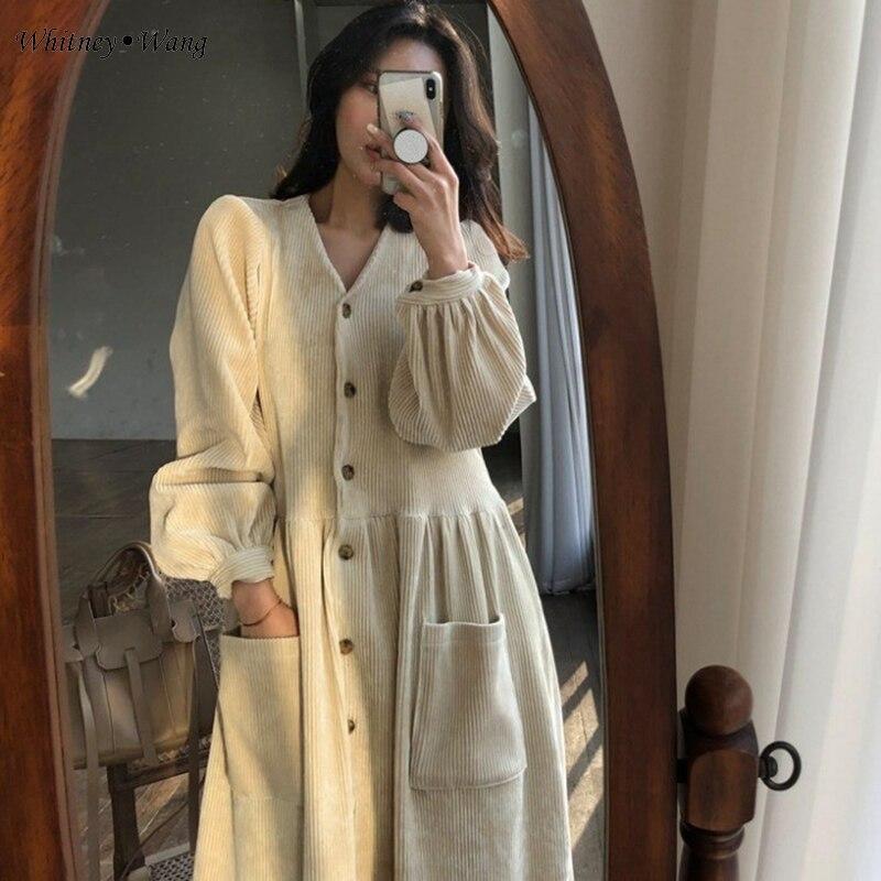 Mode Whitney Wang Velours Poches Printemps V Vintage cou Streetwear 2019 Robe En Femmes Style Beige noir Côtelé Filles qtgtwrpR