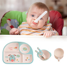 Cute 5pc Children Dinner Plate Set Bowl Cup Spoon Fork Tableware Set Eco-Friendly Bamboo Material Safe Dishes Food Feeding Set