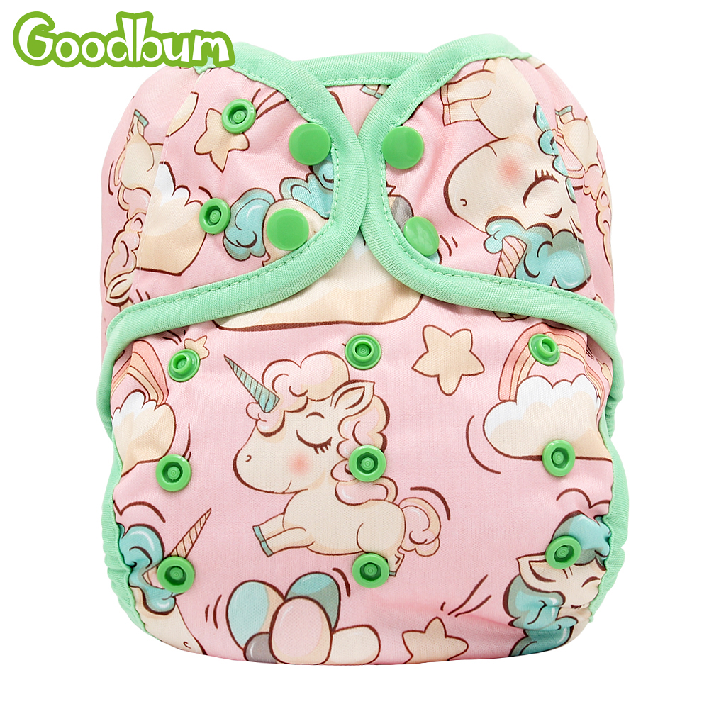 Goodbum Newborn Baby Cloth Diaper Cover Nappy Adjustable Waterproof PUL Double Gusset Unicorn Printed 3kg-15kg