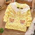 1 pcs Cut belo arco Dot urso crianças crianças meninas Cardigans camisas Tee Sweatershirt manga comprida frete grátis
