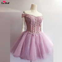 TaoHill Коктейльные Вечерние платья кристаллы светлые фиолетовые с открытыми плечами блестящая Кружевная аппликация Короткое вечернее плать