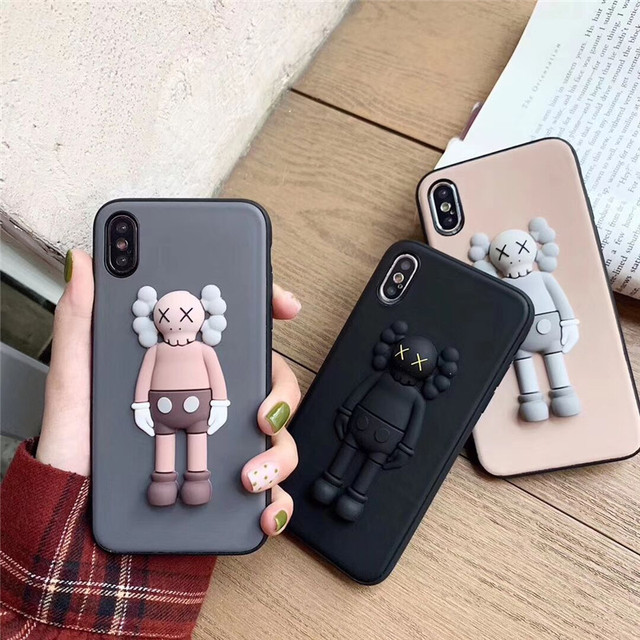 Fashion 3D Solid Cute X Kaws Toy Phone Case For iPhone X XS Max XR 6 6S 7 8 Plus Cartoon Soft Silicone Couple Phone Cover Capa