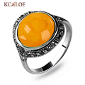 New Fashion High Quality Yellow Opal Ring For Women Antique Silver Plated Marcasite Zircon Red Green Agate Stone Ring Jewelry