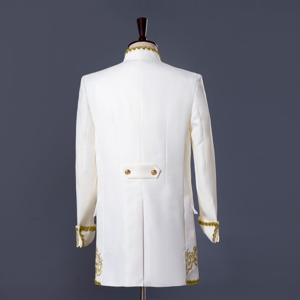 PYJTRL S-XXL hommes classique trois pièces broderie palais scène chanteur costumes de mariage dernier manteau pantalon conceptions Costume Homme - 3