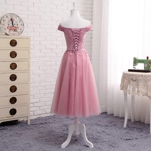 Image 4 - QNZL987D#Off Shoulder Gauzy pink lace up bridesmaid dresses new spring summer 2020 short Middle long style party prom dress