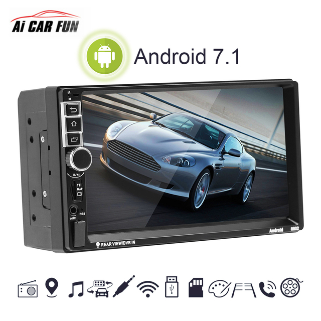 2 Din Android 7.1 System 7 Inch 4 cores 1024*600 HD Touch Screen Bluetooth FM AM Radio GPS Navigation MP4 MP5 Multimedia Player