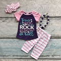Meninas do bebê verão roupas Jesus rocha crianças boutique desgaste capris roupas roupas de algodão listrado com colar combinando e arco
