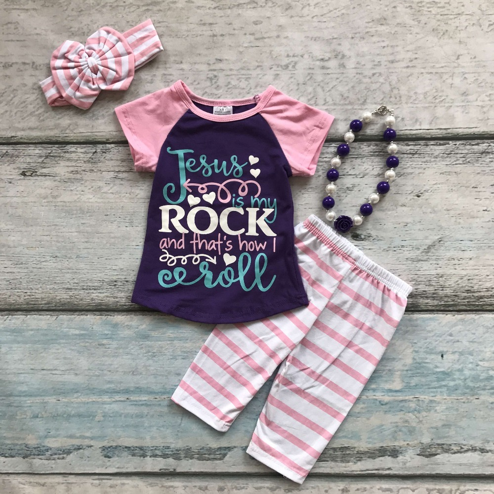 summer baby girls outfits Jesus rock kids wear boutique capris outfits cotton striped clothing with matching necklace and bow kids clothes girls boutique clothing girls back to school outfits girls summer outfits with matching headband