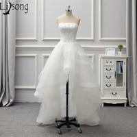 Thiết Kế đặc biệt Short Wedding Dress Strapless Đính Cườm Cô Dâu Bridal Váy Trang Phục Chính Thức Gowns Tầng Hemline Ngắn Trước Đáng Yêu Dresses