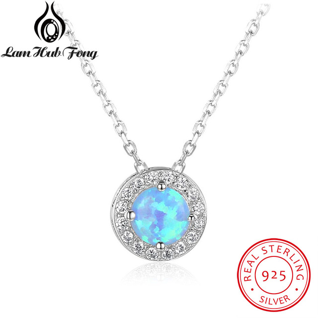 Genuine 925 sterling silver round blue fire opal pendants genuine 925 sterling silver round blue fire opal pendants necklaces cubic zirconia circle necklace birthday gifts aloadofball Image collections