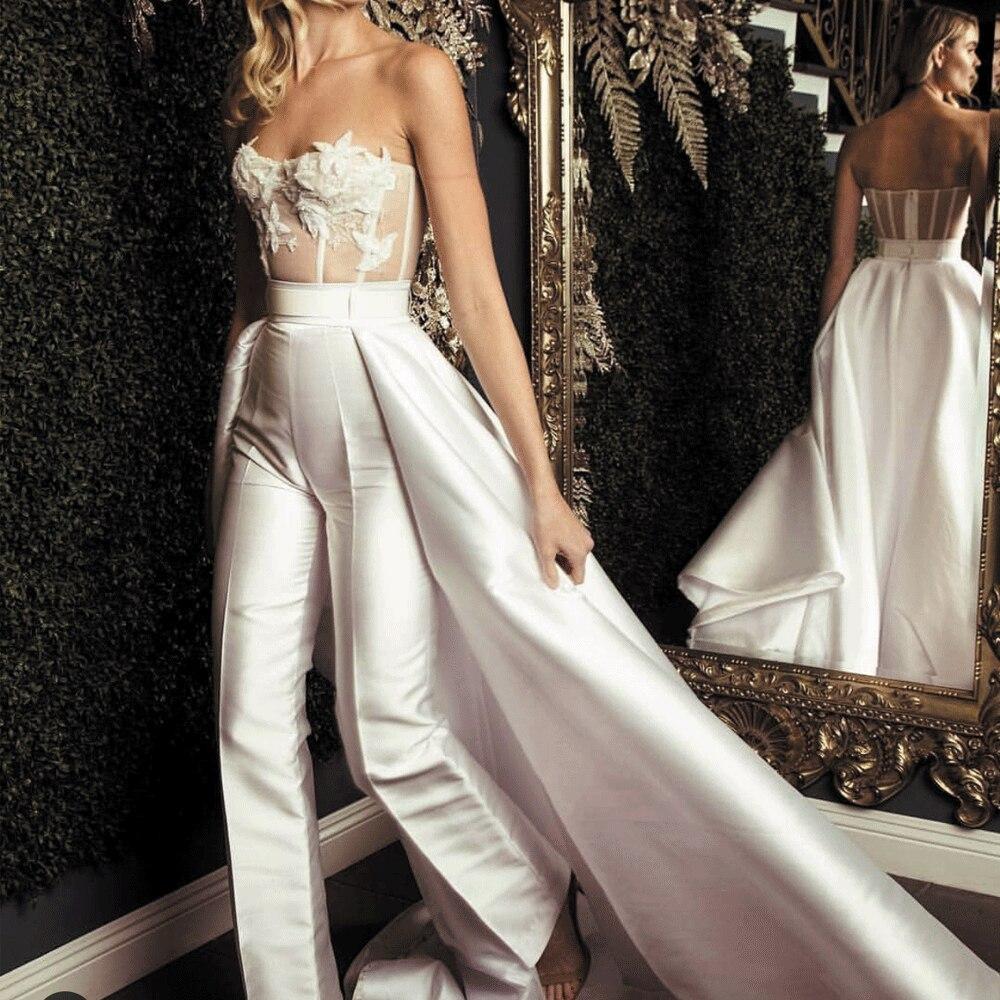 SuperKimJo Jumpsuits for Women 2019 Detachable Skirt Lace Applique Handmade Flower Pants for Weddings Vestido De Novia in Wedding Dresses from Weddings Events