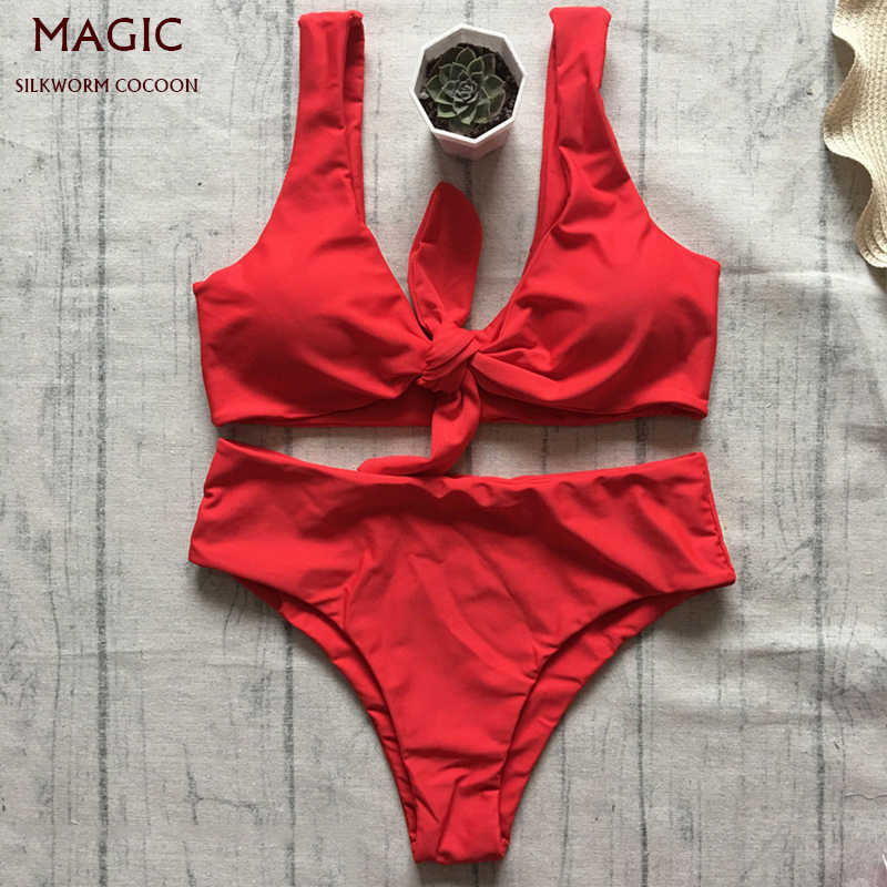 New Bowknot High Waist Solid Red Pink Bikini Set Women Swimsuit Ladies Bathing Suit For Female Swimswear Beach Swimming Suit