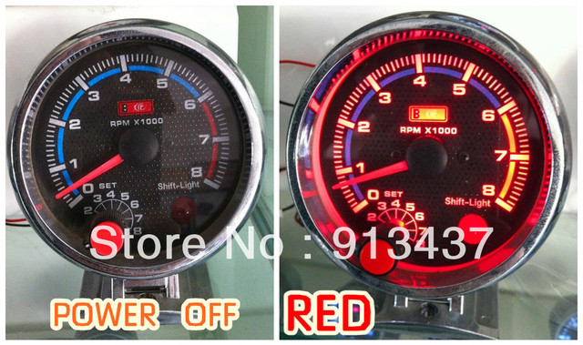 LED7781 80mm REVCOUNTER TAXOMETP TACHOMETER RPM 0-8000 4.6.8 CYLINDER BLUE/WHITE/RED LED AUTO GAUGE