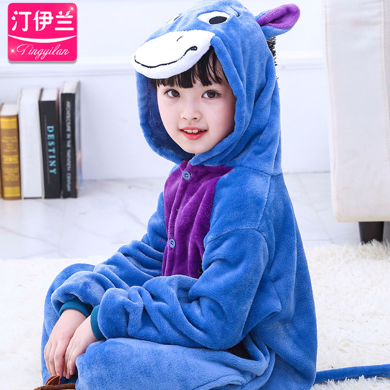 Kids Cartoon Donkey Pajamas Child Children Fleece Pajamas Siamese Cartoon Cute Home Furnishing Coral Fleece Flannel B-5964