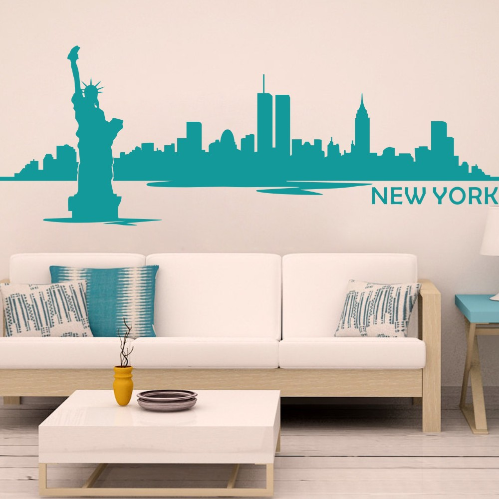 New york city skyline silhouette wall decal custom vinyl art new york city skyline silhouette wall decal custom vinyl art stickers the big apple home decoration wall decor mural 9h x24w in wall stickers from home amipublicfo Image collections