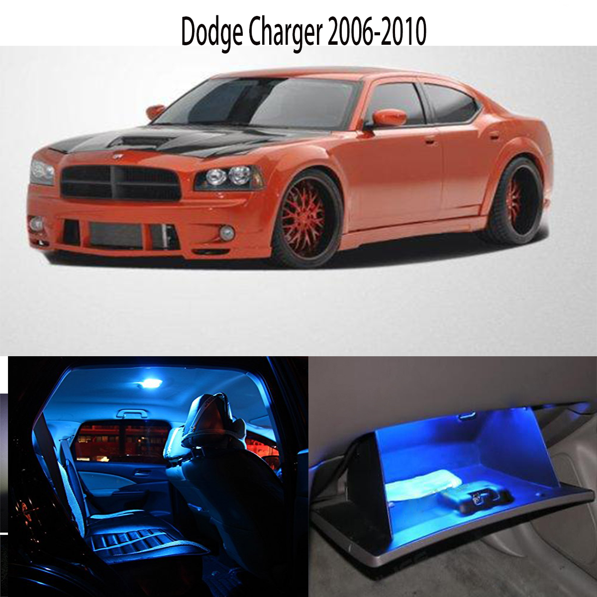 8x led ice blue light interior dome license package kit for dodge charger 2006 2010