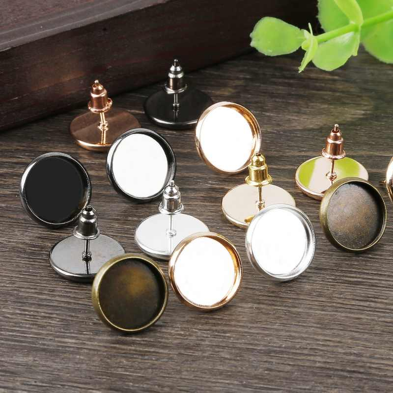 12mm 10/20pcs High Quality Classic Color Series Blank Back Base Setting for Jewelry Findings Making Fit 12mm Glass Cabochons