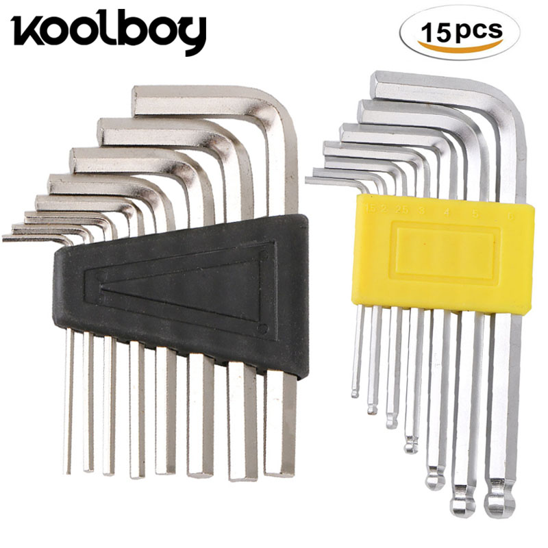 Good Quality 15PC Stainless steel Hexagon Wrench Set Mini Allen/Hex Keys Socket Spanner kit For repair bicycle Hand tool 1.5-6mm