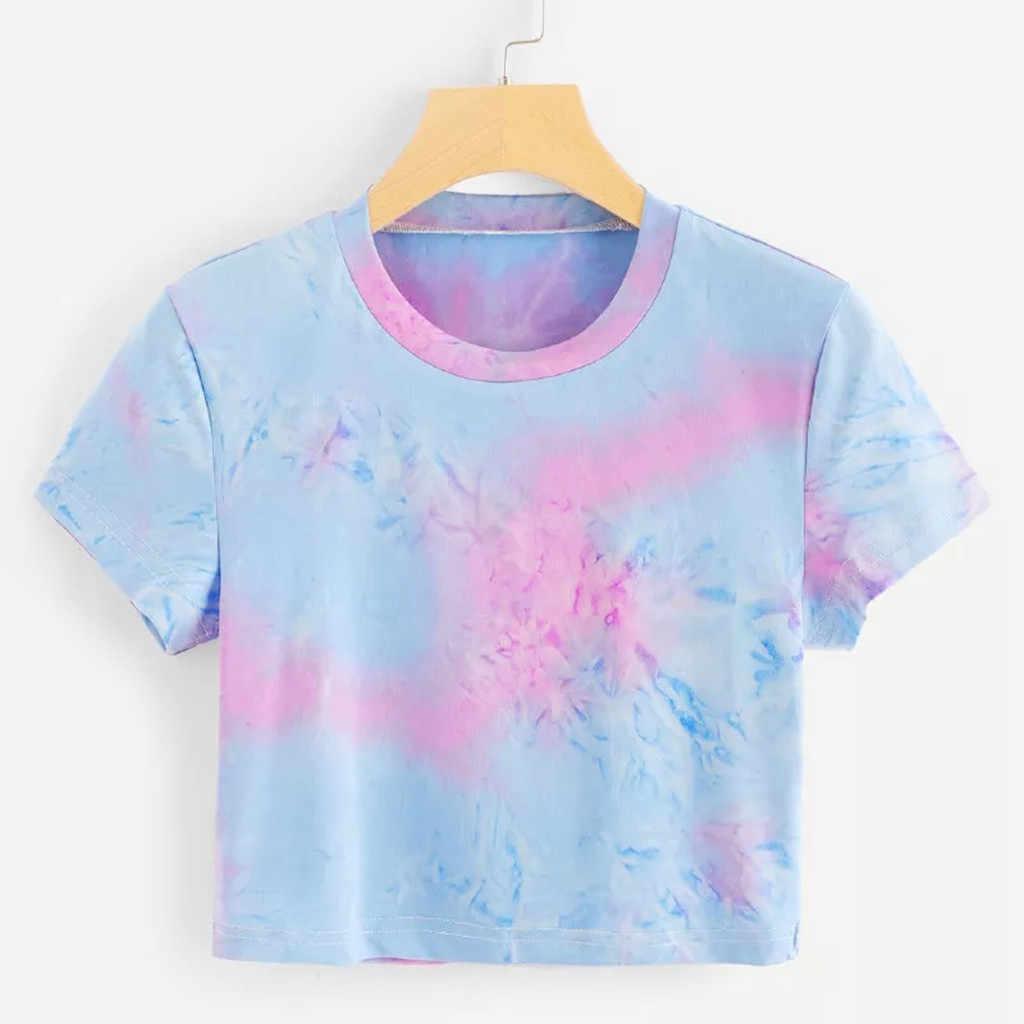 2019 Tshirt kobiety moda z krótkim rękawem z krótkim rękawem Gradient Tie-dye drukuj topy Camiseta Mujer bluzka Harajuku kobiety T koszula Camisas haut