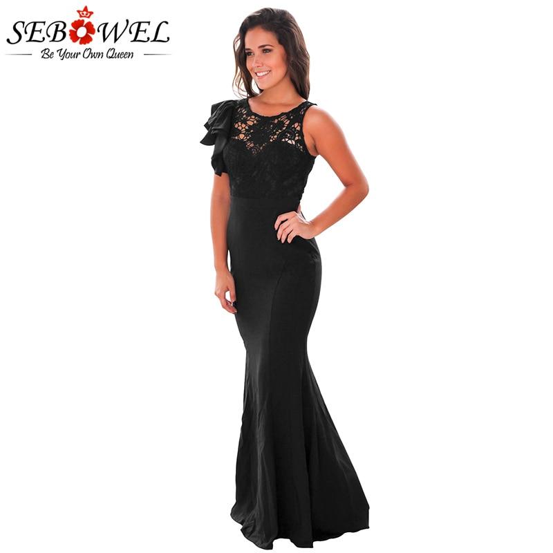 SEBOWEL 2017 New Elegant Party Maxi Dress Women Ruffle Sleeve Crochet Lace  Top Long Dress O-neck Femme Vestidos De Fiesta S-XL 7bd7bbe3bd19