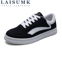 2019 LAISUMK New Fashion Stripes Lace Up Camo Mens Canvas Shoes  Spring Popular Top Casual