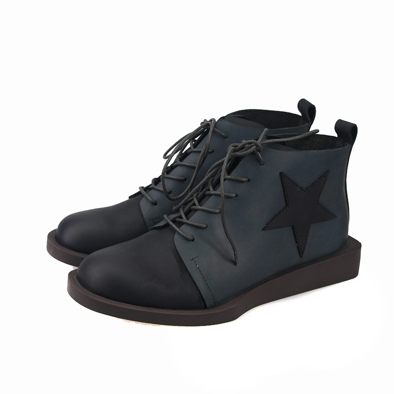 2018 VALLU Women Ankle Boots Genuine Leather Lace Up Mixed Color Women Shoes Flat Boots