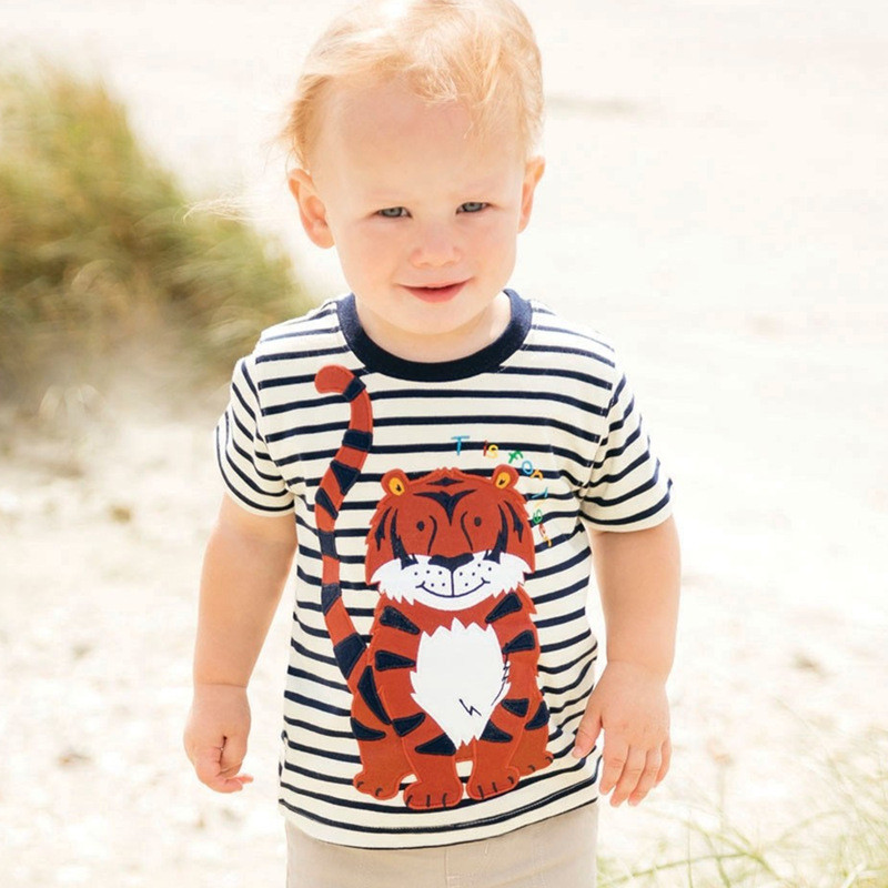 New striped short sleeves summer t shirts kids cute cartoon t shirt with applique a lovely tiger hot selling baby boys clothing 1