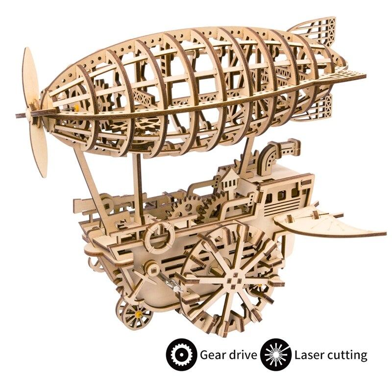 Bricolage intéressant Moveable Airship Gear Drive par horloge 3D en bois modèle Kits de construction jouets loisirs cadeau pour enfants/adultes