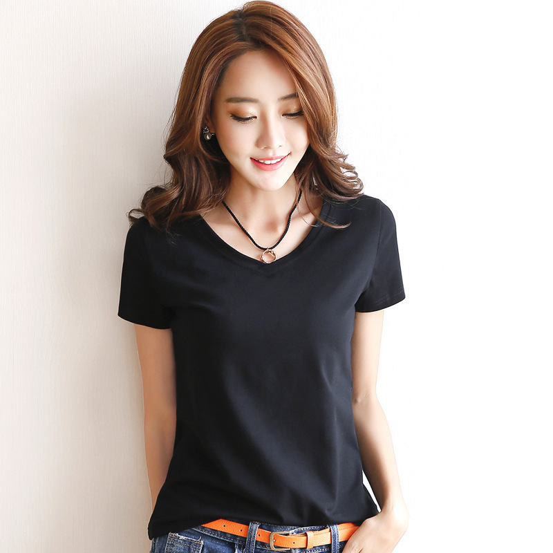 2019 Spring Summer Women Cotton T-shirt Black V-Neck Short Sleeve Female Tee Slim White T-Shirt Casual Solid Lady Tshirt Tops 5