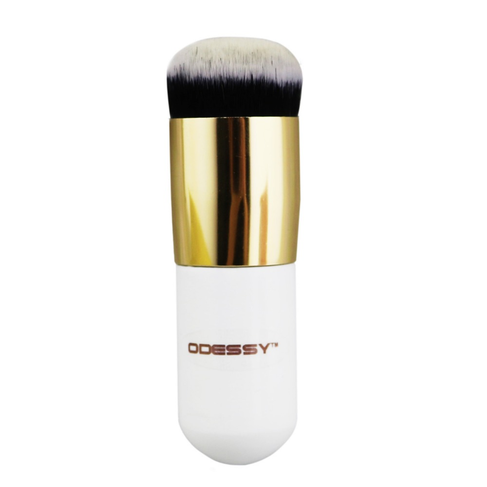 1PC Hot chubby short make up cosmetic powder foundation brushes flat top Soft BB cream makeup brush Professional Beauty tools professional bullet style cosmetic make up foundation soft brush golden white